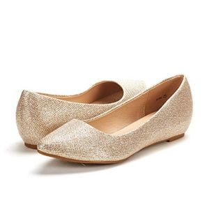 Gold Sparkly low wedge flat shoes